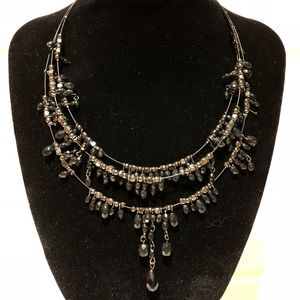 Black and Gunmetal color statement necklace